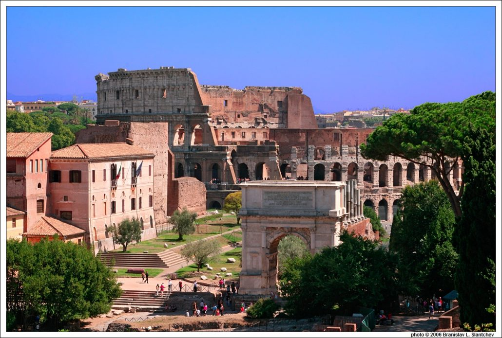 Colosseum and Arch of Titus from the Palatine Hill