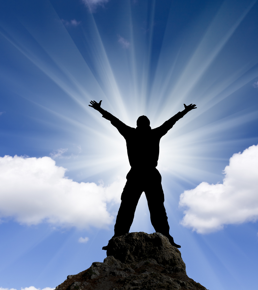 man rejoicing
